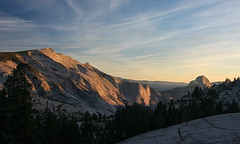 Sunset on Clouds Rest and Half Dome (Okup8avos) Tags: california sunset sky mountains clouds landscape yosemite halfdome yosemitenationalpark sierras hdr cloudsrest highway120 olmstedpoint