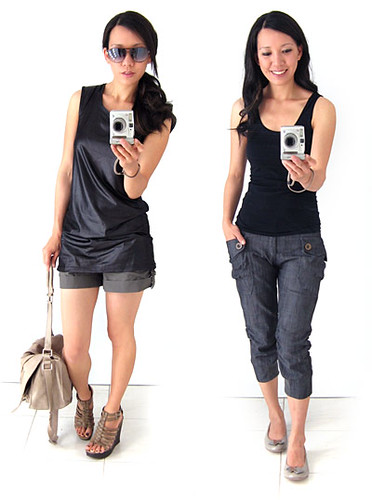 LOEF - Leather-look top and Slim Pants