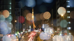"(k-m"") Tags: lighting street city light sky blur building tower colors japan night tokyo bokeh snap   lx3"