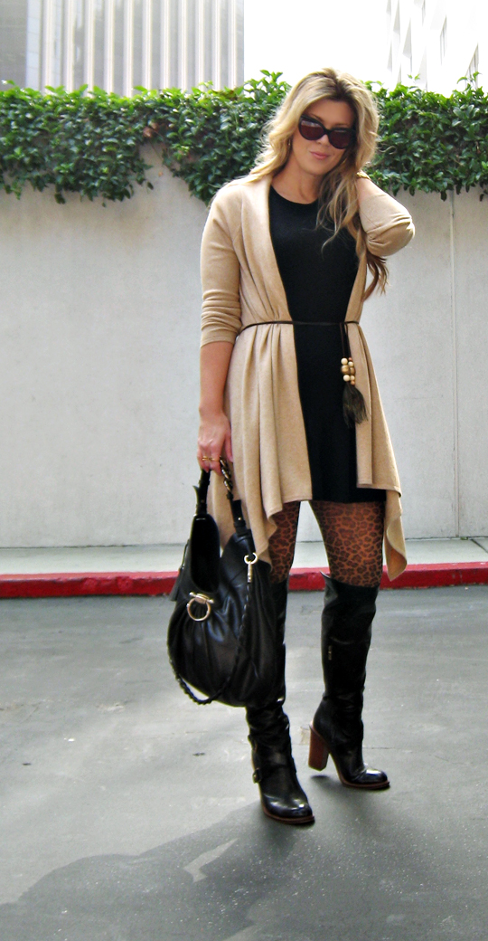 sweater dressing+ferragamo bag+over the knee boots+cat eye sunglasses+blonde hair
