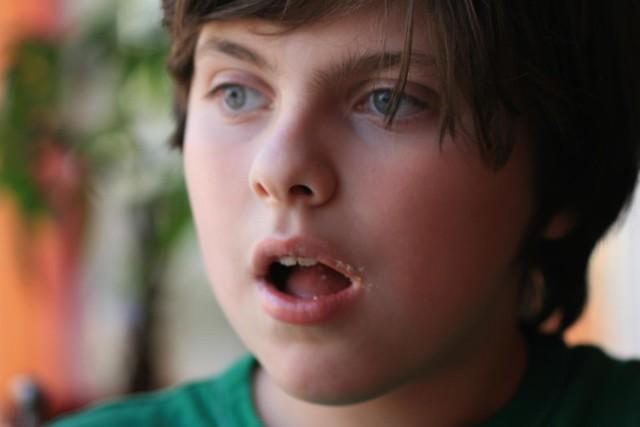 Parker, after having devoured a chai cupcake