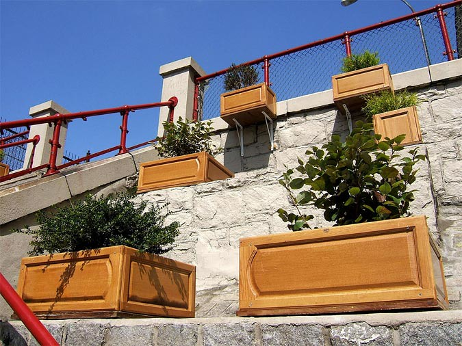 Planters at the Bronx's new ARTfarm installation. (Courtesy NYDOT)