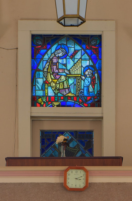Saint Patrick Roman Catholic Church, in Grafton, Illinois, USA - stained glass window of Saint Cecilia