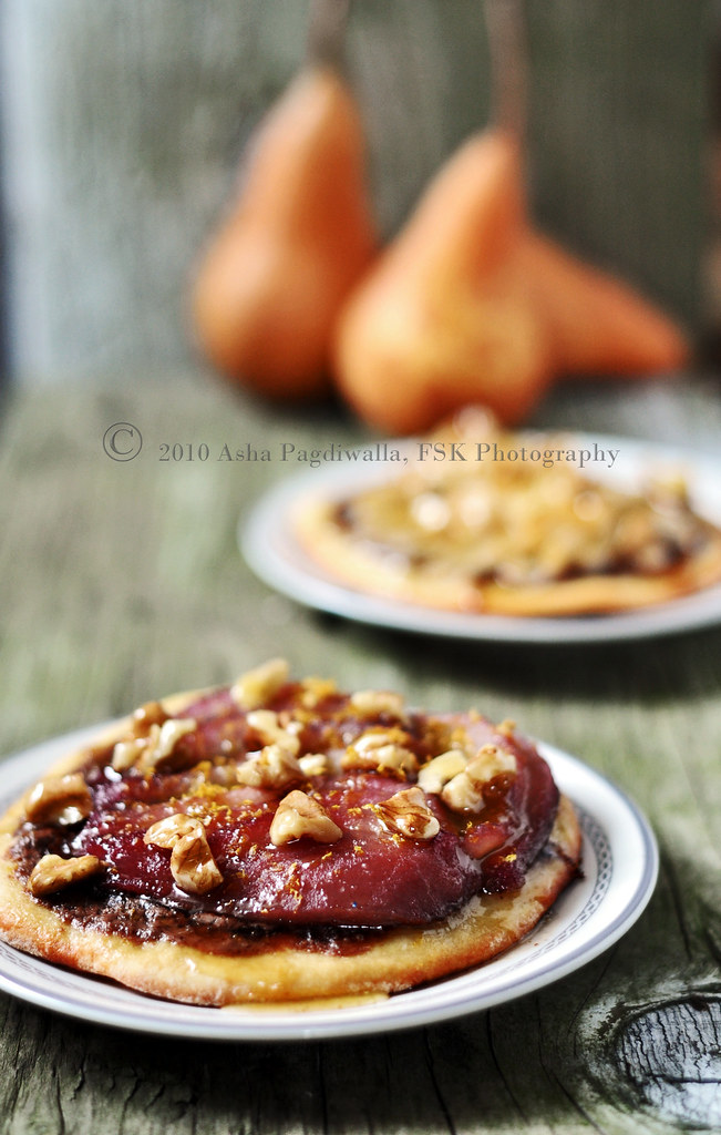 Pear (cranberry poached) and Chocolate Pizza With Orange Candied Walnuts