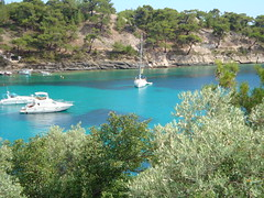 Psili Ammos Beach Thassos Island Greece () Tags: blue sea colour beach forest island greek boat sailing yacht aegean hellas greece grece ellada thassos hellenic  ammos psili