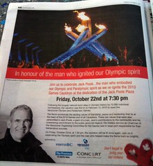 In the Province today: Jack Poole Plaza dedicated w/cauldron lighting Oct22 7:30pm, bring your mitts