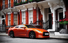 Nissan GTR (Laurens Grim) Tags: england orange london car skyline speed photography nikon nissan grim wheels engine fast automotive harrods rims laurens supercar horsepower gtr 18105 d90 r35