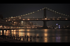 from the South Street Seaport (Dj Poe) Tags: new york bridge light cinema ny skyline night canon dark eos is mark manhattan low ii 5d usm cinematic 169 fdr 70200mm f28l 5dmkii 5dmk2