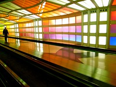 palette (totomai) Tags: street usa chicago colors underground airport candid stainedglass ohare blogged colored passenger vanishing ricoh 2010 griii