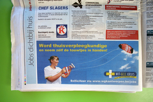 Newspaper advertisement - Wit-Gele Kruis, Antwerpen, Belgium