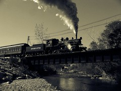 Crossing the divide (ashakeandfrys) Tags: old fall train kodak arcade engine steam locomotive attica dutone z812