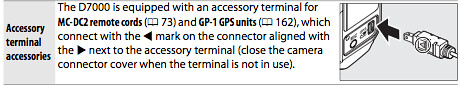 Accessory terminal on the Nikon D7000, as described on page 281 of the Nikon D7000 Manual