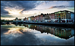 Dublin (M Fotografie) Tags: city bridge sky dublin reflection architecture clouds buildings reflections river landscape europe european afternoon dusk cities liffey riverliffey dublinia