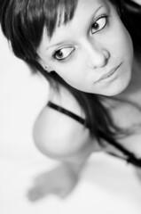 Waiting for... (AnToJo Photos) Tags: portrait white black monochrome female model eyes noir yeux blanc regard
