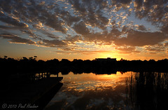 Sunrise on Lake Destiny (Paul Hueber) Tags: blue sky orange lake reflection nature water yellow clouds sunrise canon reeds dock glow florida springs destiny handheld seminole seminolecounty altamontesprings centralflorida altamonte lakedestiny musicarver