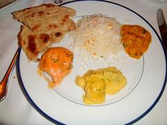 Plato tipo con curry y Tandoori Pollo Tikka Masala