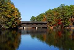 Stone Mountain Covered Bridge (davidwilliamreed) Tags: bridge mountain fall water colors leaves stone georgia covered