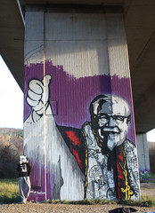 who is your god? (bustart) Tags: streetart mickey bust kfc lrrach papst bigwall collor bustart