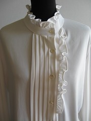 Mardi Modes of New York White Pleated & Ruffled Blouse Close Up Front (mondas66) Tags: newyork ruffles ascot blouse romantic elegant ornate frilly elegance pleated jabot ruffle blouses frills frill ruffled frilled frilling frillings befrilled mardimodes