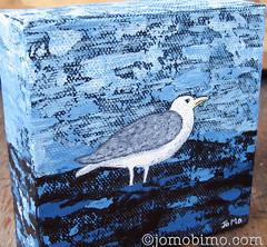 Lone Gull (JoMo (peaceofpi)) Tags: ocean sea canada bird art water painting square j acrylic bc seagull gull small mini fave canvas minature