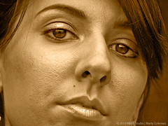 Golden Model J (Make Studio | Marty Coleman) Tags: portrait woman oklahoma monochrome beauty face sepia nose golden eyes lips stare tulsa brunette bangs eyebrows pores
