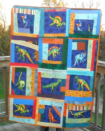 blue/orange dino charity quilt