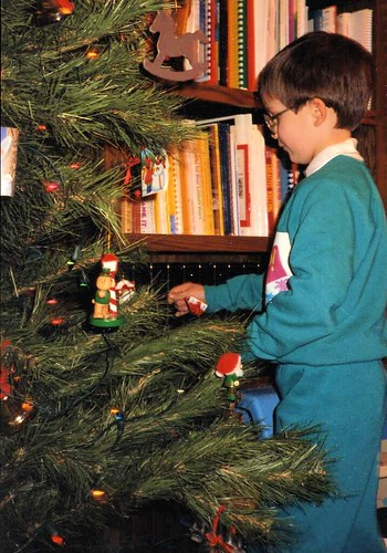 Will (6½) decorating the Christmas tree, Thanksgiving 1991.