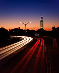 Rush Hour (Bruce Bordelon) Tags: road street blue light sunset motion cars rouge nikon louisiana long exposure traffic state 10 capitol stop filter rush hour access streams d200 exit tamron laurel f28 baton seconds 401 density neutral 1755mm intersate i110 nd1000
