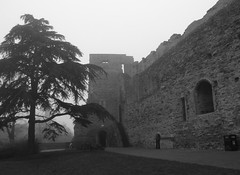 (Hannard) Tags: england castle church fog architecture river alley crossstitch market gothic foggy tudor trent marketplace newark stalls nottinghamshire halftimbered marymagdalene stmarymagdalene