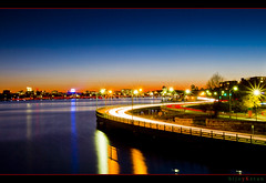 Lifeblood of a City (bijoyKetan) Tags: longexposure sunset color beautiful boston night reflections mit lighttrails harvardbridge