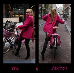 Pink & Stiletto's (Iam Marjon Bleeker) Tags: pink holland amsterdam bike bicycle outfit shoes highheels stiletto negenstraatjes wolvenstraat womanonabike womaninamsterdam womanonabikeinamsterdam