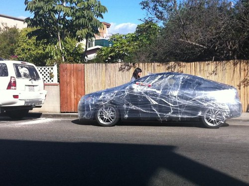 car saran-wrapped Venice Beach