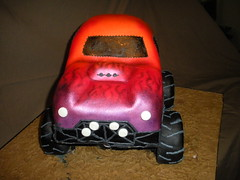3-D Monster Truck cake by Wolfbay Café (Wolfbay Cafe) Tags: cake truck airbrush monstertruck fondant wolfbaycafe