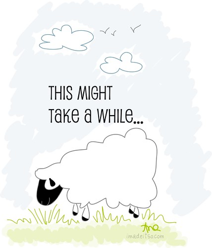 this might take a while sheep illustration