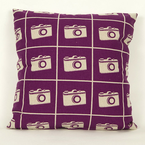 Echino Cushion Camera Purple