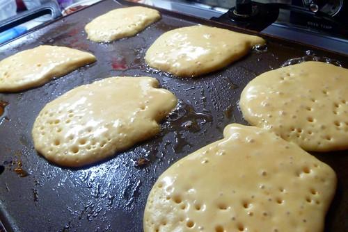 GF pancakes and fried ham beakfast