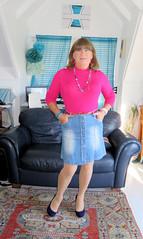 Denim Skirt (Trixy Deans) Tags: crossdresser cd cute crossdressing crossdress classy corset skirts skirt legs shortskirt shortskirts xdresser sexy sexytransvestite sexyheels sexylegs sexyblonde tgirl tv transvestite transgendered transsexual tranny trixydeans tgirls trixy