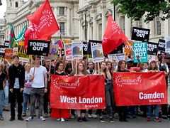 Unite say: Tories Out! (Andy Worthington) Tags: london whitehall londonsw1 sw1 westminster boroughofwestminster protest politics politicalprotest andyworthington streetphotography placards theresamay grenfelltower peoplesassembly notonedaymore austerity banners unite unions tradeunions