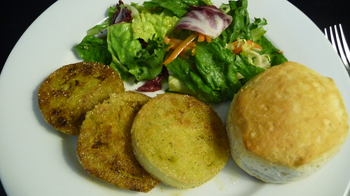 Fried green tomatoes, biscuit & salad at Michael's