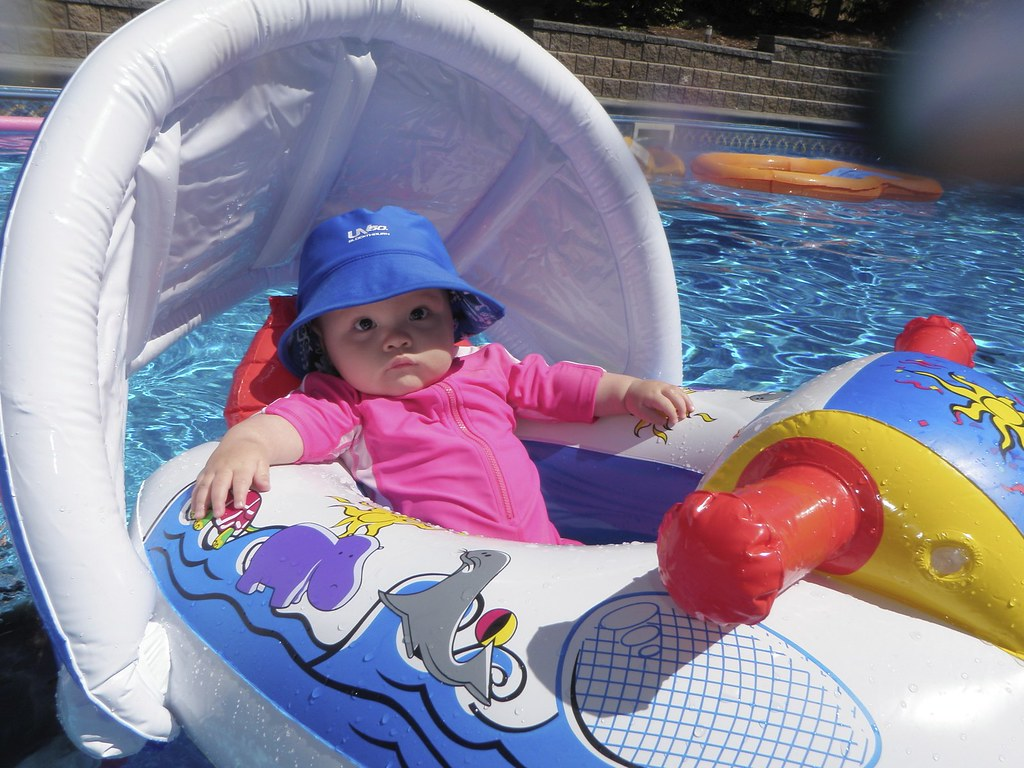 Melody relaxing in the pool