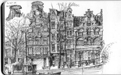 Buildings on the Singel Canal, Amsterdam (HeyItsWilliam) Tags: holland moleskine netherlands amsterdam architecture sketch drawing sketching draw nederlands