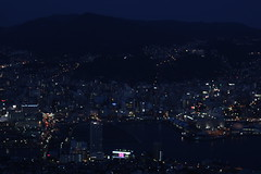 View from Inasa-san (_phin) Tags: city sunset panorama mountain eye car birds japan skyline night landscape evening san cityscape looking view time bev dusk down cable scene mount scape nagasaki ropeway yama inasa inasasan