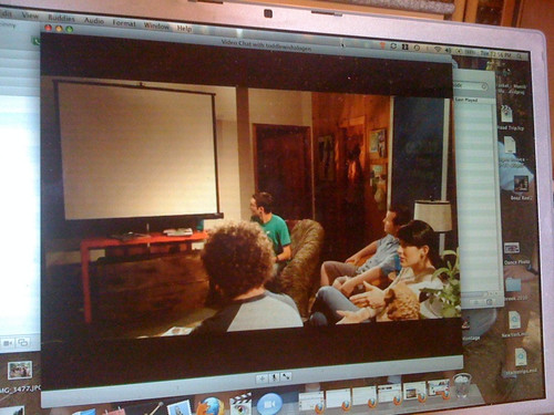 Watching a rough cut of episode 1 via iChat