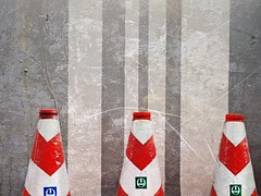 3 stooges (tanakawho) Tags: city red urban white texture wall tokyo construction cone object gray tanakawho