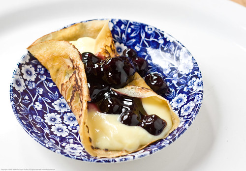 Whole Wheat Buttermilk Crepes with Goats milk custard and blueberries