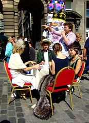 Fringe 2010 - table for four 01 (byronv2) Tags: 1920s girls woman man girl table scotland costume women edinburgh fringe royalmile performers performer oldtown 2010 edinburghfestivalfringe