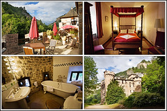 sleeping in a castle (heavenuphere) Tags: france castle collage bathroom hotel bedroom terrace gorge chateau tarn gorgesdutarn sainteenimie lozre languedocroussilon chateaudelacaze