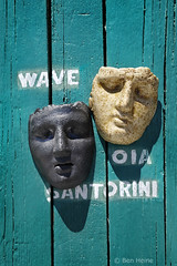 """Wave Oia Santorini"" (Ben Heine) Tags: voyage wood trip travel hot contrast island photography colorful warm theater mediterranean quiet faces mask symbol peaceful greece hut expressive summertime copyrights discovery mythology grce brightness cyclades bois cabane clart clich woodtexture chaleur visages blackorwhite aegeansea mditerranen turquoisebackground flickrunited mer samsungnx10 benheinecom ege waveoiasantorini"