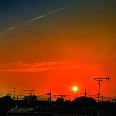 Sunset - long shot (hidesax) Tags: sunset red orange sun silhouette japan clouds nikon cityscape dusk ant burning saitama nikkor hdr antenna ageo d90 3xp nikond90 hidesax dxnikkor55200mmf456gedvr sunsetlongshot