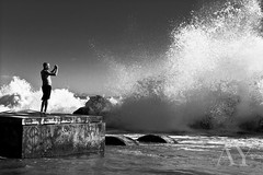 Nature Observer (lightmagic) Tags: ocean california blackandwhite bw abstract beach losangeles flickr surf santamonica highcontrast pacificocean venicebeach splash